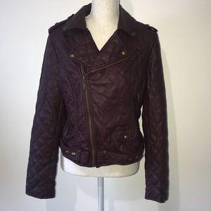 Bar III Plum Faux Leather Jacket Size Large
